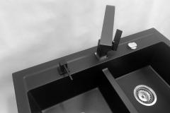 Zlewozmywak granitowy model DUET - Cały czarny