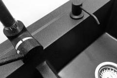 Zlewozmywak granitowy model DUET - Czarny nakrapiany
