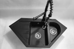 Zlewozmywak granitowy model JOKER  - Cały czarny