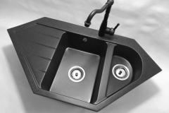 Zlewozmywak granitowy model JOKER  - Czarny nakrapiany