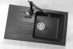 Bateria kuchenna RETRO - Cała czarna (biała rączka)