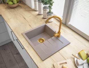 Syfon przyścienny manualny jednokomorowy - Złoty
