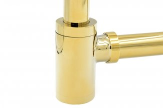 Syfon umywalkowy mosiężny + korek klik klak - Złoty