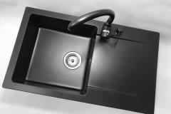 Zlewozmywak granitowy model TRENDY - Cały czarny