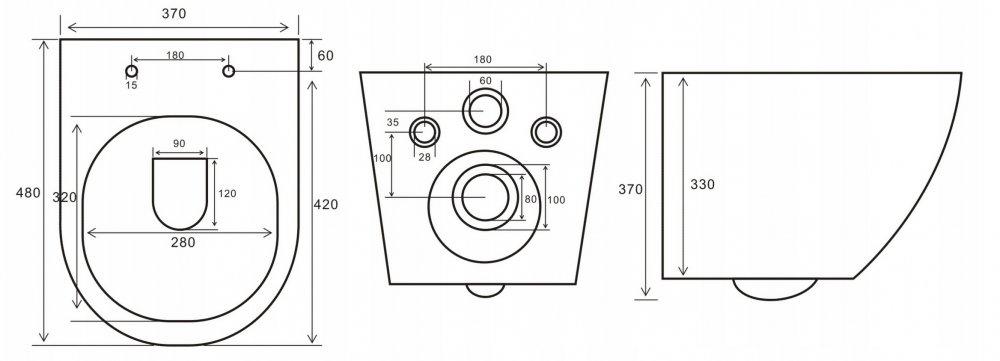 Zestaw podtynkowy WC GEBERIT DUO RIMLESS – 7w1 - rysunek misy