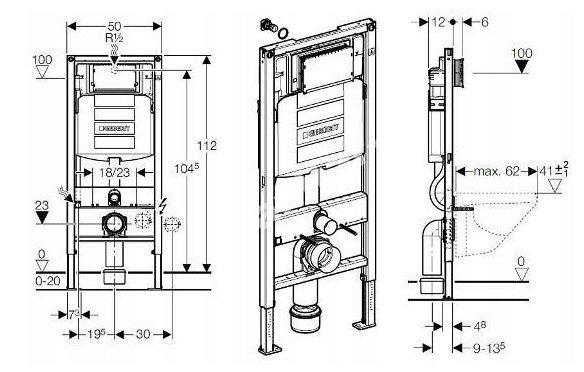 Zestaw podtynkowy WC GEBERIT DUO RIMLESS – 7w1 - rysunek stelaża