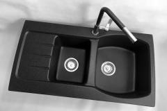 Zlewozmywak granitowy model MASTER - Czarny nakrapiany