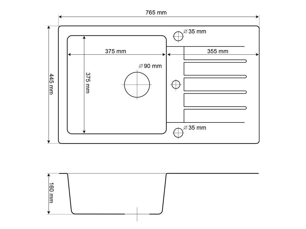 zlewozmywak-jednokomorowy-trix-rysunek-techniczny