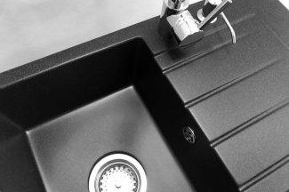 Zlewozmywak granitowy model STYL - Czarny nakrapiany