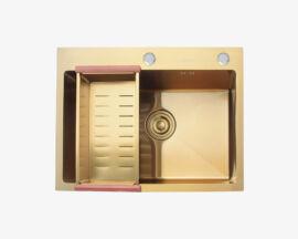 Zlewozmywak stalowy ZŁOTY jedna komora z syfonem oraz koszykiem