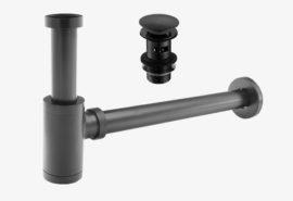 Syfon umywalkowy mosiężny + korek klik klak – Czarny