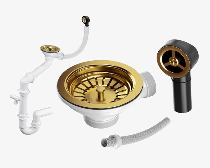 Syfon przyścienny manualny jednokomorowy – Złoty